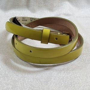 Ann Taylor Yellow Patent Skinny Belt (XS) #762